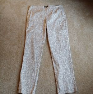 NWOT Foxcroft tan&white ankle length pants